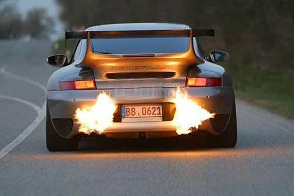 A car with on-fire exhaust pipes