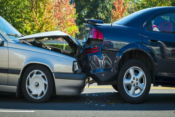 two cars involved in a collision