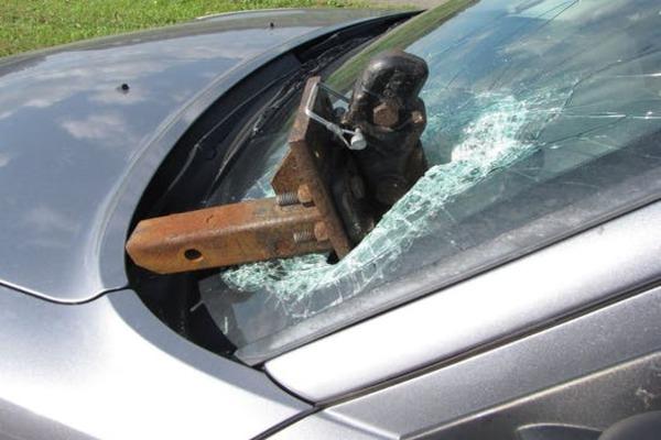 Fallen debris in the car's windshield