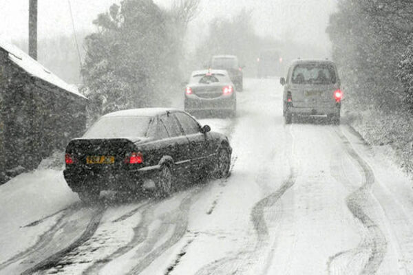 Cars on a snowy road