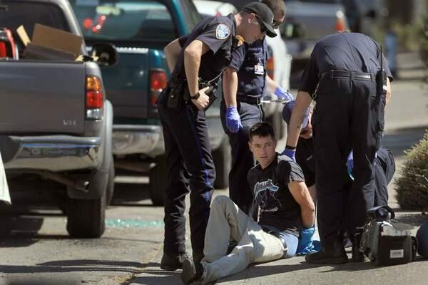 Police arresting a man