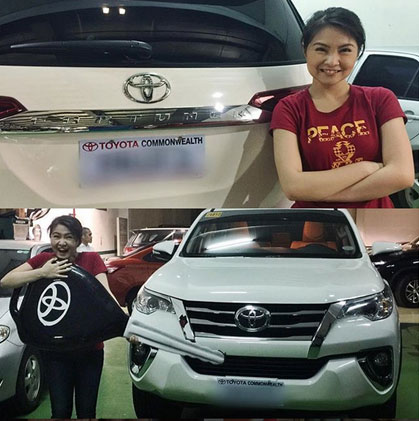 Barbie Forteza and her white Toyota Fortuner