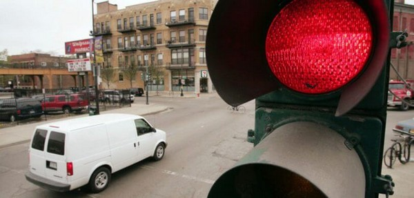 a car beating red light